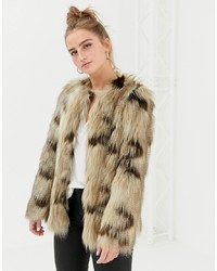 New Look Faux Fur Jacket In Brown Pattern Pattern