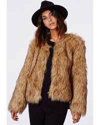 Missguided Belle Faux Fur Cropped Jacket Brown | Where to buy ...