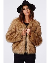 Missguided Belle Faux Fur Cropped Jacket Brown