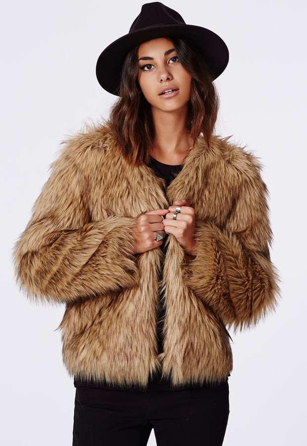 Missguided Belle Faux Fur Cropped Jacket Brown | Where to buy