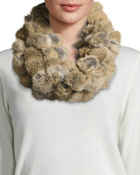 Rabbit fur pompom infinity scarf goma brown medium 848903