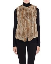 Barneys New York Rabbit Fur Vest Brown