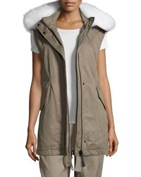 Utility cotton vest w fur hood sage medium 5253458