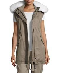 Derek Lam 10 Crosby Utility Cotton Vest W Fur Hood Sage