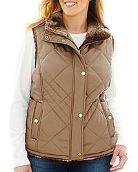 KC Collections Quilted Reversible Faux Fur Vest Plus