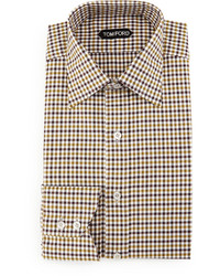 Tan Gingham Dress Shirt