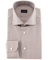 Gingham woven dress shirt brown medium 1246469