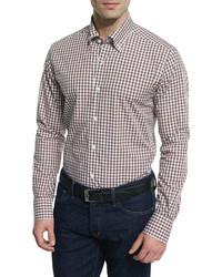 Tan Gingham Long Sleeve Shirt