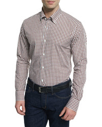 Neiman Marcus Gingham Long Sleeve Sport Shirt Brown