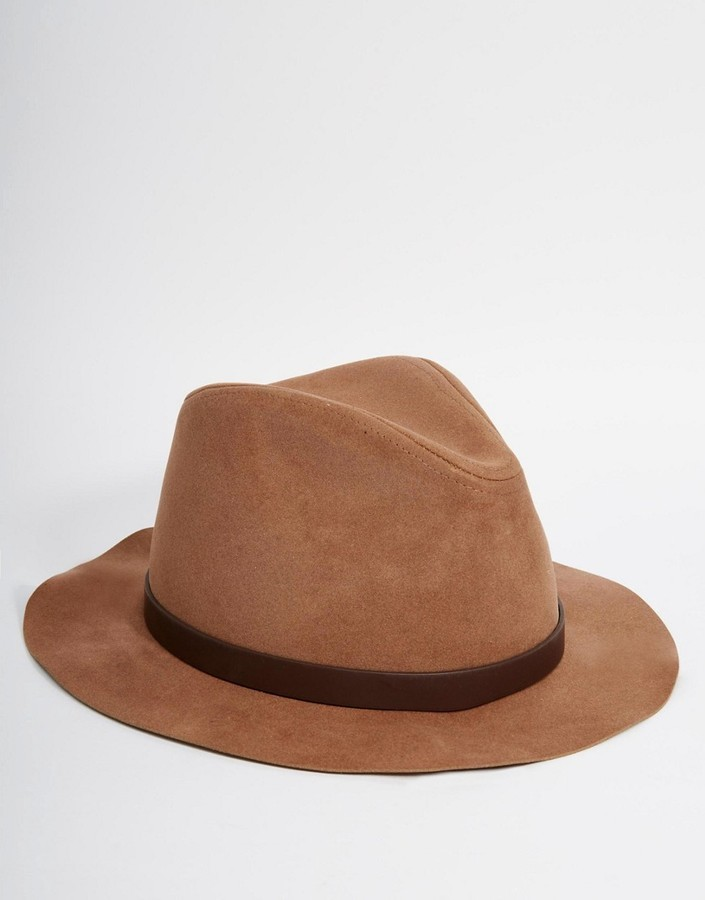 ... Asos Brand Fedora Hat In Camel Faux Suede ... 335e14b0532