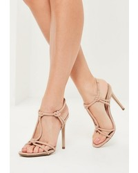 Missguided Nude Knotted T Bar Heeled Sandals
