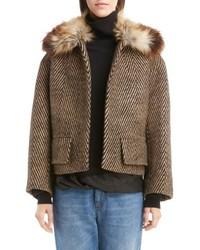 Faux fur collar herringbone coat medium 4423385