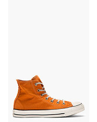 Premium chuck taylor orange well worn chuck taylor high top sneakers medium 27550
