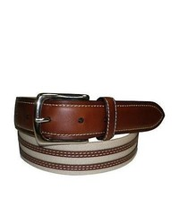 Tan Horizontal Striped Canvas Belt