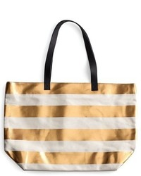 Tan Horizontal Striped Canvas Tote Bag