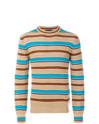 Tan Horizontal Striped Crew-neck Sweater