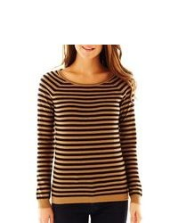 Tan Horizontal Striped Crew-neck Sweater