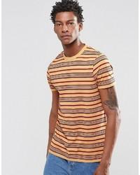Asos Brand T Shirt In Retro Stripe In Camel