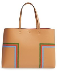 Tory Burch Block T Stripe Leather Tote Brown