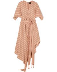 Loewe Paulas Ibiza Striped Cotton Gauze Midi Dress