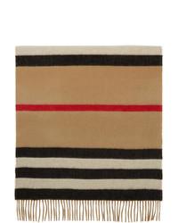Burberry Beige Cashmere Jacquard Icon Stripe Scarf