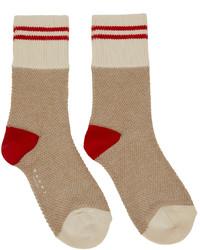 Marni Beige Red Striped Socks