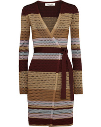 Diane von Furstenberg Metallic Striped Ribbed Knit Wrap Dress