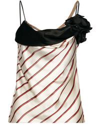 Lanvin Embellished Striped Satin Jacquard Camisole Beige
