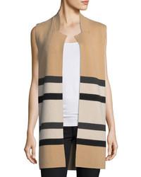 Neiman Marcus Cashmere Collection Double Knit Striped Cashmere Vest