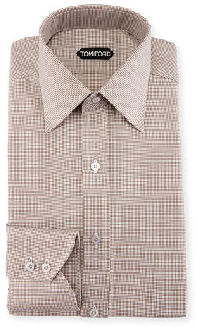 Tom Ford Slim Fit Mini Houndstooth Dress Shirt