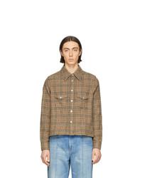 Tan Houndstooth Wool Shirt Jacket