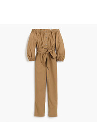 J.Crew Petite Off The Shoulder Khaki Jumpsuit