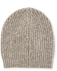 Brunello Cucinelli Cashmere Knit Beanie Hat Oatmeal