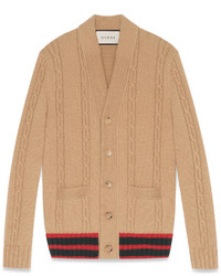 Gucci Cable Knit Cardigan With Web