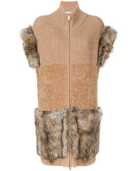 Stella McCartney Fur Free Fur Trimmed Knit Vest