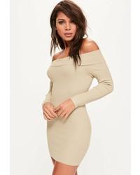 Missguided Camel Ribbed Bardot Mini Knit Sweater Dress