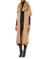 Alice + Olivia Klay Long Cable Knit Cardigan Wdetachable Fur Collar