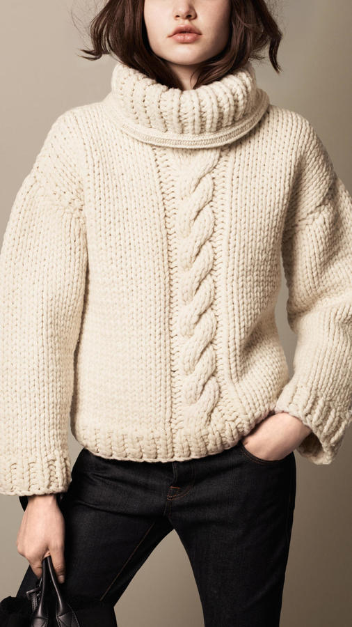 6c8bee3f8ac7 Burberry Brit Alpaca Wool Cable Knit Roll Neck Sweater