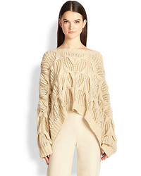 Donna Karan Oversized Open Knit Cashmere Sweater