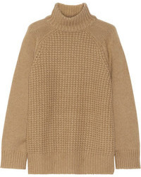 The Row Rivington Camel And Cashmere Blend Turtleneck Sweater