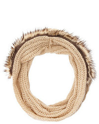Charlotte Russe Faux Fur Trim Cable Knit Infinity Scarf