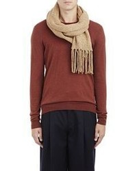 Maison Margiela Speckled Knit Fringed Scarf Nude