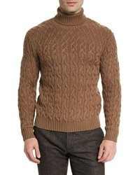 Cable knit turtleneck sweater camel medium 713335