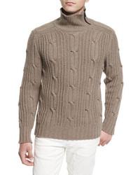 Easterton cable knit turtleneck sweater bark medium 705088