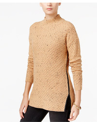 Faux leather trim mock neck sweater created for macys medium 3665663
