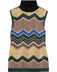 Metallic crochet knit turtleneck top camel medium 5172793