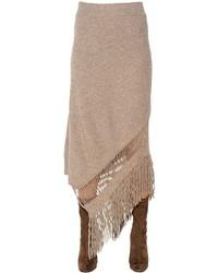 Stella McCartney Fringed Cashmere Wool Knit Skirt