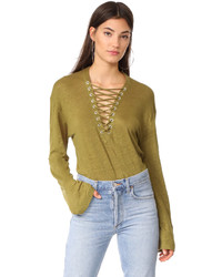 IRO Aletty Lace Up Long Sleeve Tee