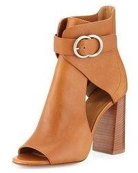 Chloe millie open toe leather bootie tan medium 949584