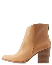 Charlotte Russe Pointed Toe Stacked Heel Ankle Boots